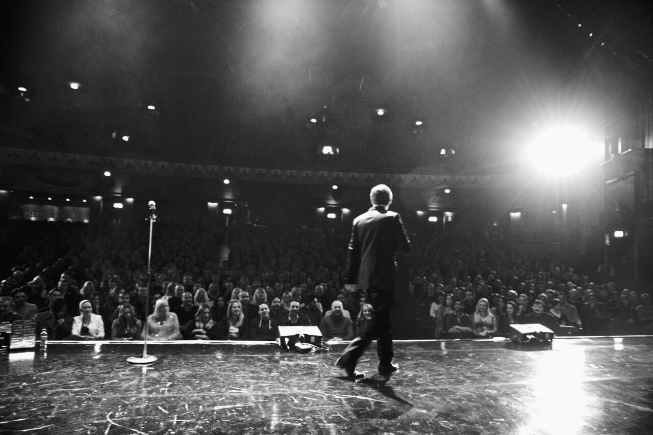 on stage in London